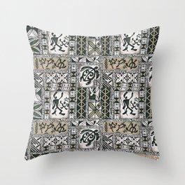 Hawaiian Honu Tapa Cloth Throw Pillow