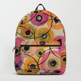 Circles and Flowers- Yellow Backpack