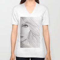 emma stone V-neck T-shirts featuring Emma Stone Drawing by Olivia Scotton