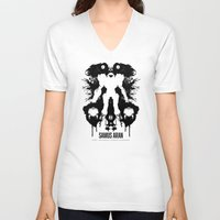 psychology V-neck T-shirts featuring Samus Aran Metroid Geek Psychological Diagnosis Ink Blot  by Barrett Biggers
