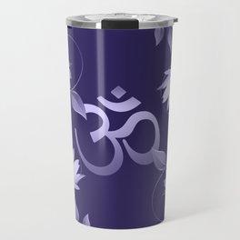 Om Symbol with Lotus Ornament on purple Travel Mug