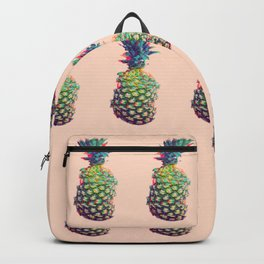 Vintage style pineapple with grunge glitch effect design Backpack
