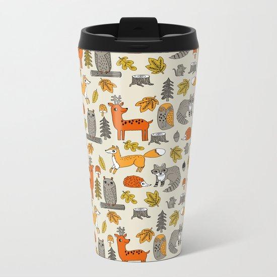 Woodland foxes rabbits deer owls cute pattern by andrea lauren Metal Travel Mug