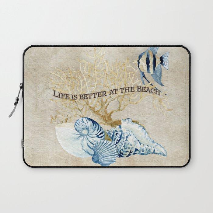 Indigo Ocean Sea Shells Angelfish Coral Watercolor Artwork Laptop Sleeve