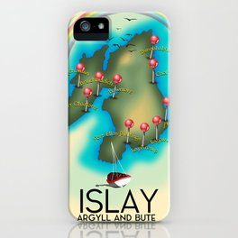Islay Scotland map travel poster. iPhone Case