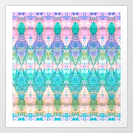 Tribal Diamonds Watercolour Pastel Art Print