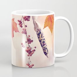 Autumn composition on colorful leaves background Coffee Mug