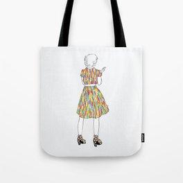 a girl in a dress Tote Bag