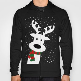 Reindeer in a snowy day (green) Hoody