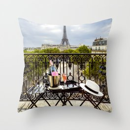 Eiffel Tower Paris Balcony View Throw Pillow