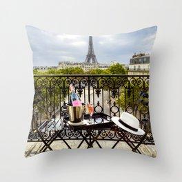 Eiffel Tower Paris Balcony View Throw Pillow