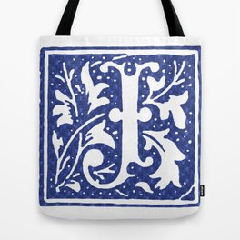FLORAL LETTER TYPE - LETTER J Tote Bag