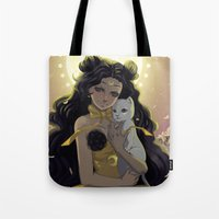sailormoon Tote Bags featuring Luna by Mika