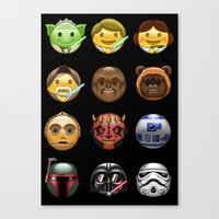 emoji Canvas Prints featuring Emoji Wars by Vincent Trinidad