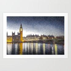 Westminster At Night Snow Art Print