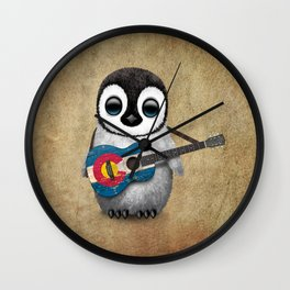 Baby Penguin Playing Colorado Flag Guitar Wall Clock