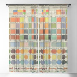 Vintage Scientific Encyclopedia Lithograph Diagram of Color Spectrum Rainbow Sheer Curtain