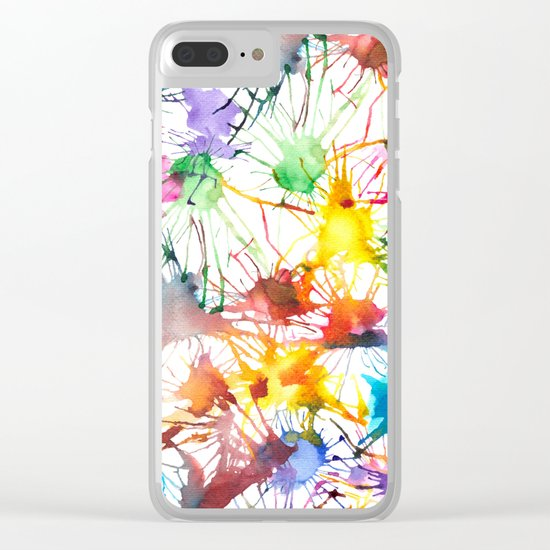 Watercolor Splashes Clear iPhone Case