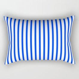 Blue & White Vertical Stripes Rectangular Pillow