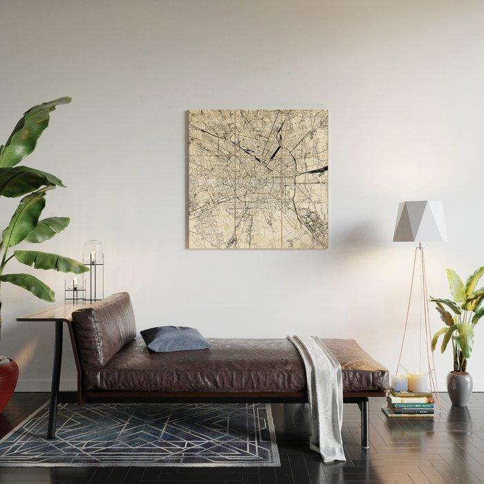 Milan White Map Wood Wall Art