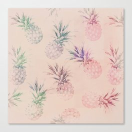 Soft Pastel Pineapple Summe Pattern Canvas Print