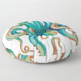 Octopus Tentacles Teal Green Watercolor Art Floor Pillow