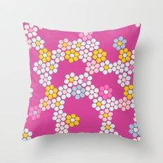 Flower tiles in hot pink Throw Pillow