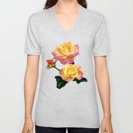 Daybreak roses on black Unisex V-Neck