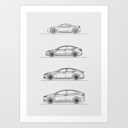 TESLA LINE UP Art Print