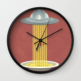 Invasion of spaghetti Wall Clock