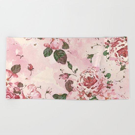 Roses Blossom Beach Towel