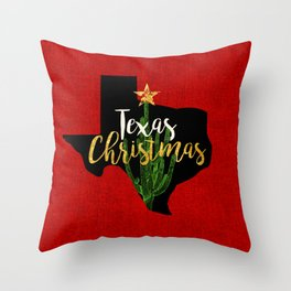 Texas Christmas Cactus Throw Pillow