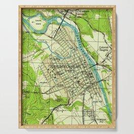 Vintage Map of Fredericksburg Virginia (1944) Serving Tray