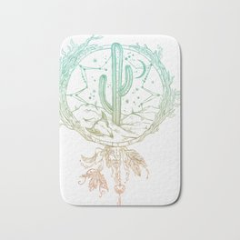 Desert Cactus Dreamcatcher Turquoise Coral Gradient on White Bath Mat