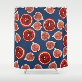 Figs - Pomegranate - blue Shower Curtain
