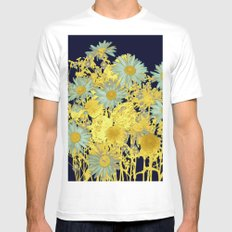 blue daisies and gold Mens Fitted Tee White MEDIUM