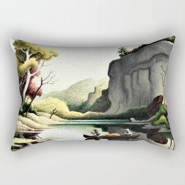 Classical Masterpiece 'Ozark Reflections' by Thomas Hart Benton Rectangular Pillow