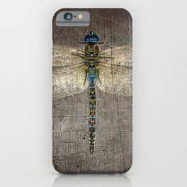 Dragonfly On Distressed Metallic Grey Background iPhone Case