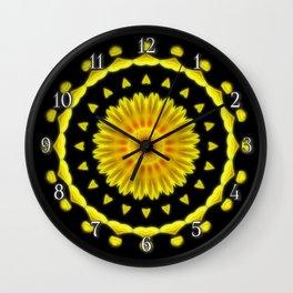 Large Yellow Wildflower Kaleidoscope Art 2 Wall Clock
