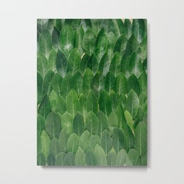 Layers Of Green Leaves Pattern Geometric Pattern Metal Print