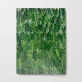 Layers Of Green Leaves Pattern Geometric Pattern Metal Print