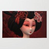 geisha Area & Throw Rugs featuring Geisha by Heidy Curbelo