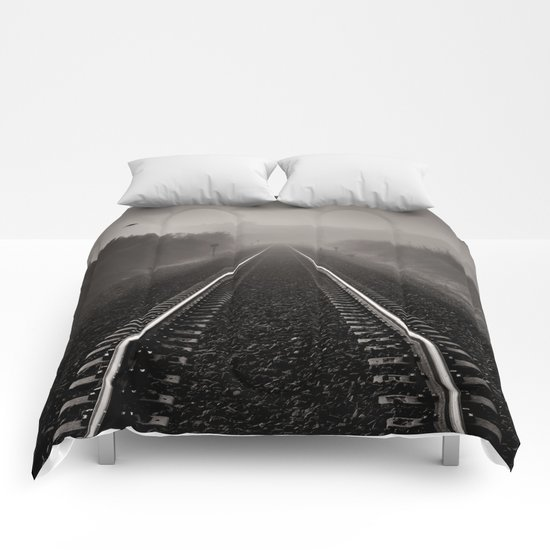 """Bird through the foggy railway"" Comforters"