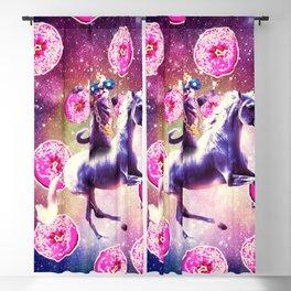 Thug Space Cat On Unicorn - Donut Blackout Curtain