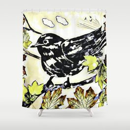 A Bird For Autumn Shower Curtain