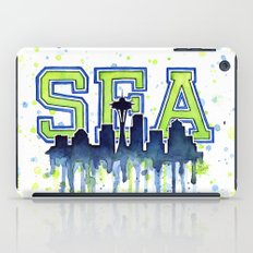 Seattle 12th Man Art Watercolor Space Needle Painting iPad Case