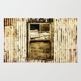 Window in a tin wall Rug
