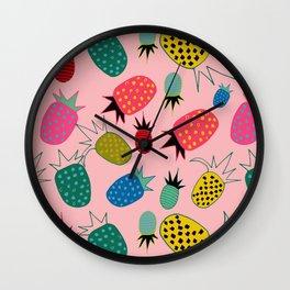 pineapple fun tropical pink Wall Clock