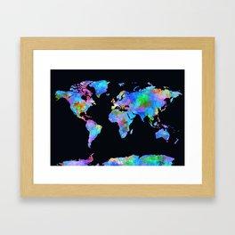 world map watercolor black Framed Art Print