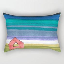 American Farm Landscape Blue Stripes 82 Rectangular Pillow